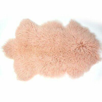 Pink Mongolian Fur Rug Nursery Fur Hide Pelt Throw Curly Hair Tibetan Carpet AU