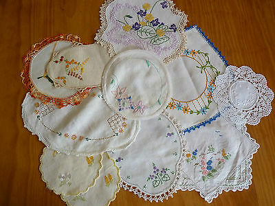 LOT of 11 ASSORTED Vintage Small & Sandwich Doilies Hand Embroidered #9