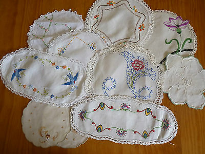 LOT of 10 ASSORTED Vintage Small & Sandwich Doilies Hand Embroidered #8