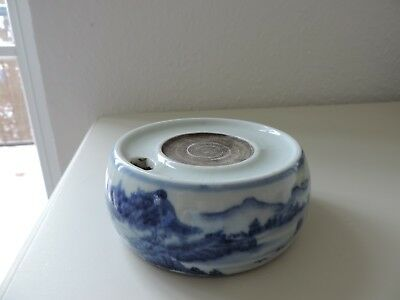 Old Chinese/Japanese white and blue porcelain inkstone inkwell