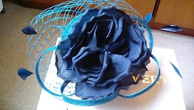 Jacques Vert Navy And Teal Fascinator