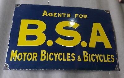 """Porcelain BSA BICYCLES Sign SIZE 14"""" X 24"""" INCHES"""