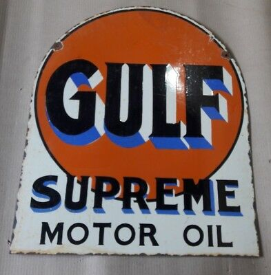 """Porcelain GULF SUPREME MOTOR OIL Enamel Sign SIZE 21"""" X 25"""" INCHES 2 SIDED"""