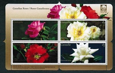 Canada Stamps - Souvenir sheet of 4 - Flowers : Roses #1910 - MNH