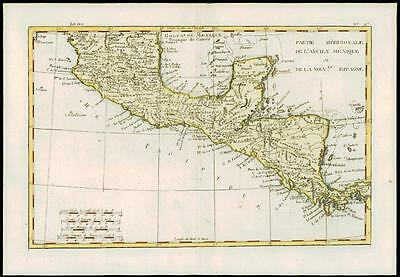 1780 Antique Map of CENTRAL AMERICA SOUTHERN MEXICO Mexique  by Bonne (19)