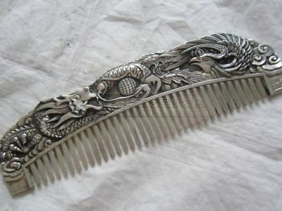 chinese Old copper plating silver Hand-carved Usable Comb Dragon