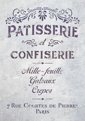 French Patisserie STENCIL A4 FP Cakes Vintage Chic Furniture SUPERIOR 250 MYLAR