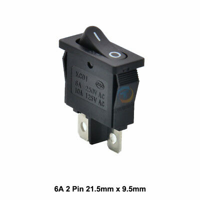 Thin Small On/Off Black long Rectangle Rocker Switch SPST 6A 250V 21.5mm x 9.5mm