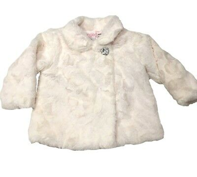 Baby Girl white plush jacket with diamante button size 1 HEAPS LISTED