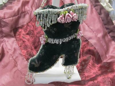 VICTORIAN BEADED BOOT VINTAGE HANDMADE Shabby Chic Cottage Christmas Ornament