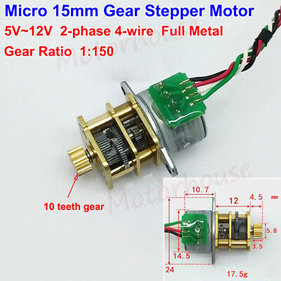 DC 5V 12V 2-phase 4-wire Mini 15mm Full Metal Gear Stepper Motor HOT0233 1:150