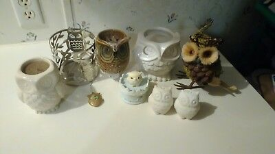 Owl Collection Home Decor Lot of 9: Candles Wax Burner and More