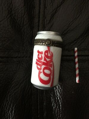 """Rare Miniature 1.5"""" Diet Coke Porcelain Hinged Box from Midwest Canon Falls 1999"""