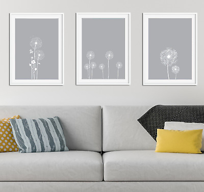 Dandelion Wall Print / Picture Home Decor, Living Dining Room Art Light Grey