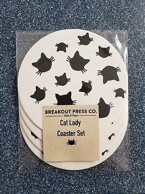 Crazy Cat Lady Coasters Brand New 4 Pack Free Shipping