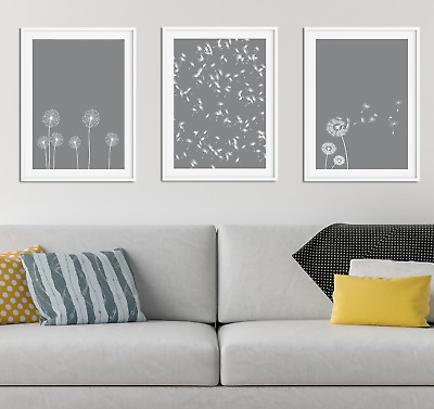 Grey Dandelion Print / Picture Home Decor, Living Dining Room Wall Art Mid