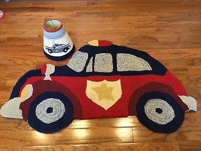 Pottery Barn Kids Police lamp shade and rug. Retired set. Hard to Find