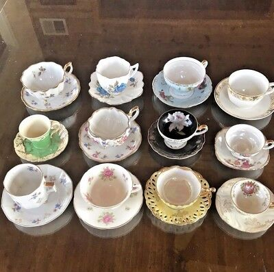 Lot Of 12 Vintage Mixed Bone China Fine Porcelain Tea Cups & Saucers