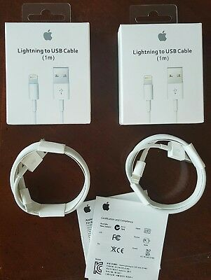 (2 PACK) ORIGINAL 1M/3ft Apple Lightning USB Cable Charger iPhone: X,8,7,6,5,SE