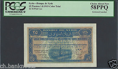 Syria 25 Piasters 1-8-1919 P2ct Specimen Color Trial About Uncirculated