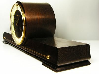 Beautiful Later Art Deco Design Chiming Mantel Clock Dugena Hermle From 50´s