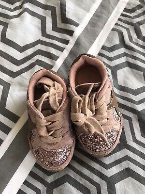 Baby Girls Next pink glitter trainers in great condition size 3