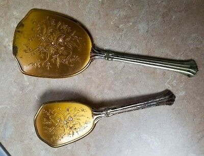 Vintage Gold Mirror & Brush Vanity Set Victorian Style - Ladies - Fancy USA