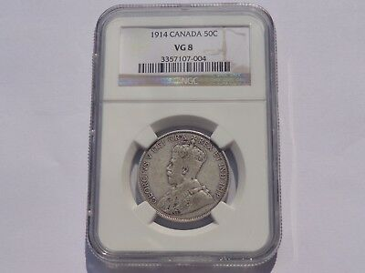 1914 Canada George V 50 Cents Ngc Vg-8 Key Date! No Reserve! Must See!!
