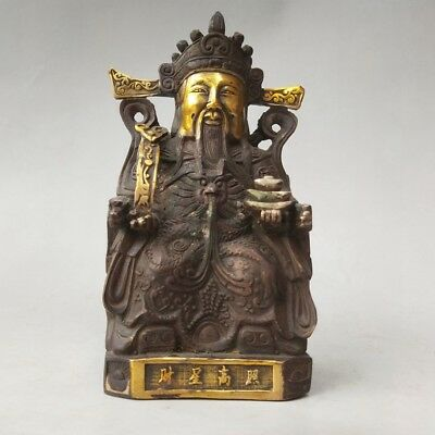 Chinese handmade carved The god of wealth statue Qianlong Mark   h89
