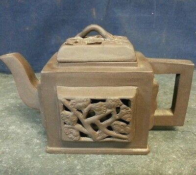 Unusual Chinese Miniature Terracotta Teapot with Pierced Panel Details