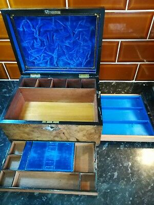 Antique Victorian Walnut mother of pearl Inlay Jewellery Sewing wooden Box