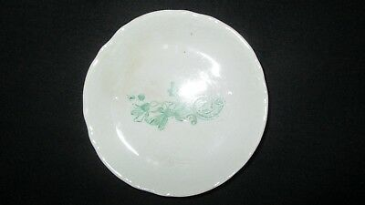 "Very old 3"" Butter Pat w  Green Design-Unmarked"