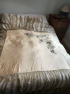 Chinese Silk Piano Shawl Apricot With Silver/grey Embroidery