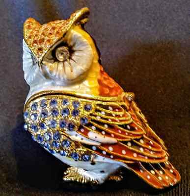 New Welforth Owl Shaped Trinket Box! Blue - Brown - Gold! Colorful Crystals!