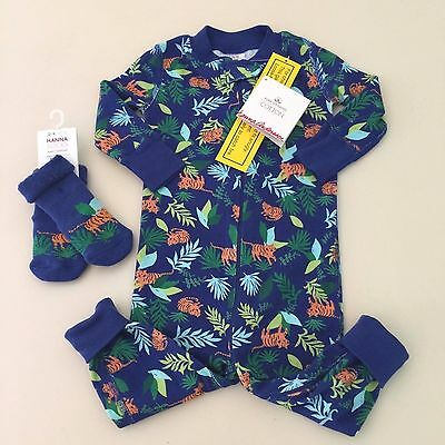 "HANNA ANDERSSON Baby Boy's ""JUNGLE"" Pajama + Socks, Size 70 (6-12 months) New!!"