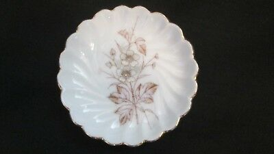 VTG Bone China Butter Pat Made in Germany~Brown Floral/Gold Scalloped Rim-EUC