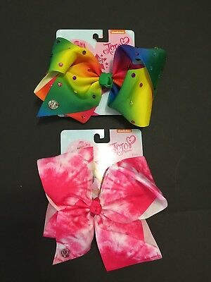 NWT LOT OF 2 AUTHENTIC SIGNATURE JoJo Siwa LARGE RAINBOW BOWS