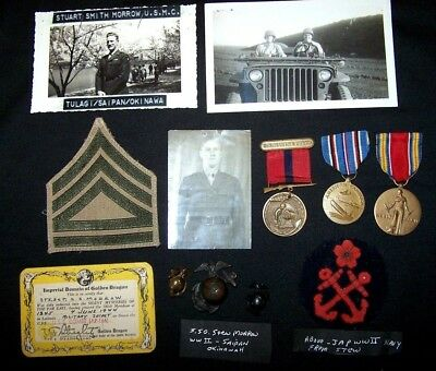 Small ID'ed Grouping to a WW2 USMC S/Sgt.  Named Good Conduct Medal.