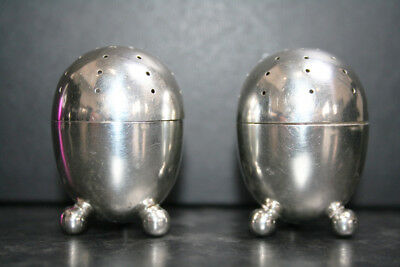 Solid Silver Novelty Egg Shaped Pepper Pots - Victorian - Superb 1889 -