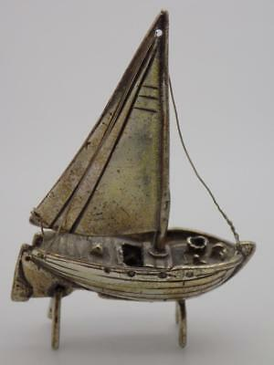 Vintage Solid Silver Italian Made Fishing Boat Miniature, Figurine, Stamped