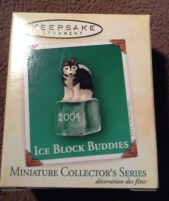 "2004 Hallmark ""Ice Block Buddies"" Miniature Ornament Husky with card NEW IN BOX"