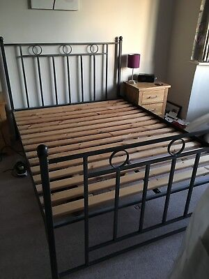Iron standard double bedstead (with slats to base)