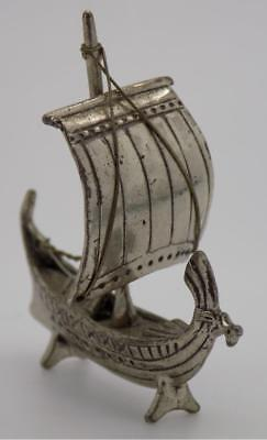 Vintage Solid Silver Italian Made Viking Ship Miniature, Figurine, Stamped