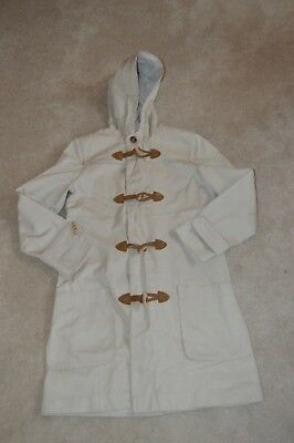 APC Beige Wooden Toggle Up Hooded Trench Coat Jacket Mens Size Small S