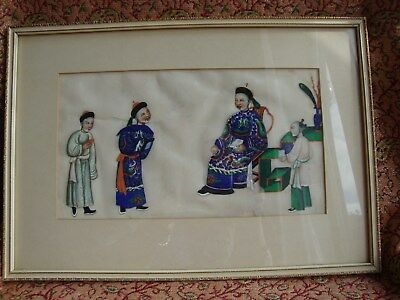 Chinese gouache pith painting Official receiving visitors