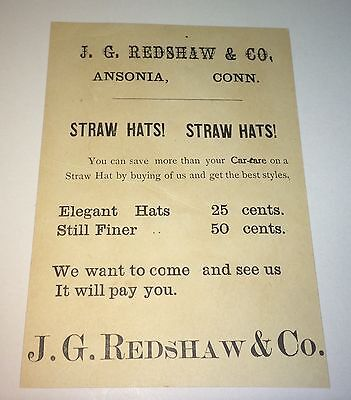 Rare Antique Victorian American Advertising Straw Hats! Ansonia, CT Trade Card!