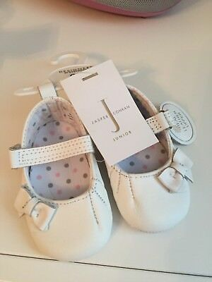 2 Pairs of John rocha Baby Pram Shoes 0-3 months White and Pink Leather soft