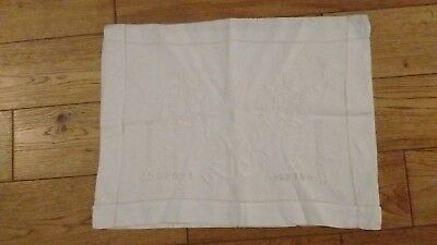 Vintage White Cotton Floral Embroidery and Drawn Work Cushion Cover