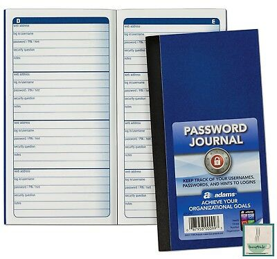 Website Username Password Keeper Journal Internet Address Safety Book 6.25x3.25