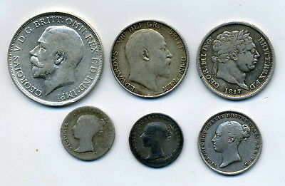 6 X Silver Coins From Great Britian 1817 To 1018.